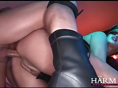 Cocksucking slut flogged on her tight ass tubes