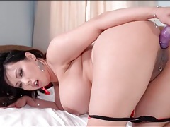 Solo asian babe with big tits fucks a toy tubes