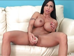 Fit and busty jewels jade masturbates with a toy tubes