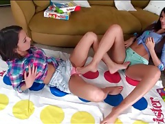Teens play twister and share lesbian kisses tubes
