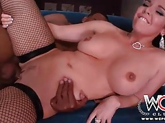 White babe dressed in fishnets takes bbc in ass tubes