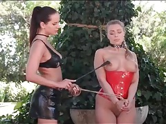 Sub girl in dog collar tied outdoors tubes