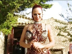 Busty babe dominno in leopard print outfit tubes