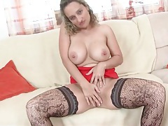 Curvy milf in sexy patterned stockings masturbates tubes