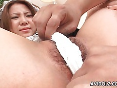 Cute japanese maid gets her tits licked tubes