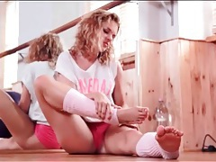 Curly hair ballerina is flexible and sexy tubes