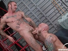 Two guys covered in tattoos make bj porn tubes