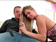 Blonde in a little skirt sucks cock tubes