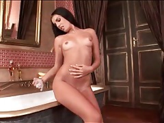 Serilla lamante strips off her corset and soaps up tubes