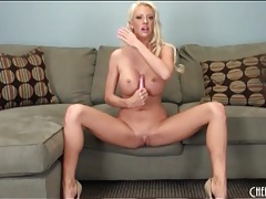 Leggy blonde bimbo with incredible fake tits tubes