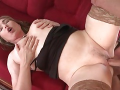 Sexy tan stockings on curvy mature having sex tubes