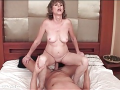 Mature rides and grinds on his hard dick tubes