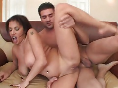 Natural big tits bounce in threesome fuck scene tubes