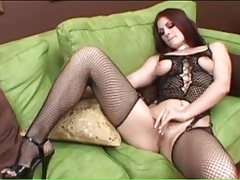 Slut teases in fishnet lingerie and sucks dicks tubes