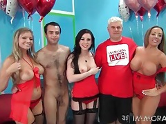 Ladies in red lingerie look hot in group porn tubes