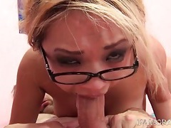 Asian in glasses gives a wet bj and gets fucked tubes