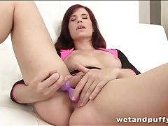 Young redhead in heels has tasty toy sex tubes