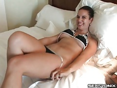 Amateur slips out of her bikini and sucks dick tubes