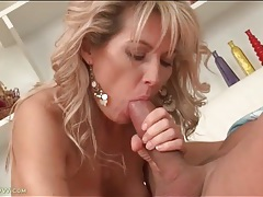 Mom mouth sucks lustily on rock hard cock tubes