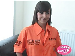 Leggy small tits teen strips from prison uniform tubes