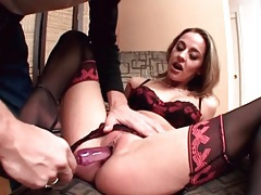 He dildo fucks her pussy and tight ass tubes