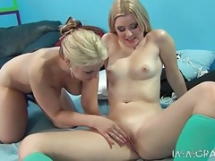 Blondes suck and get fucked by stiff shaft tubes