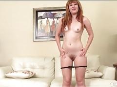 Cute redhead in shiny high heels masturbates tubes