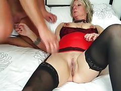 Hot mature wears lingerie and sucks cock tubes