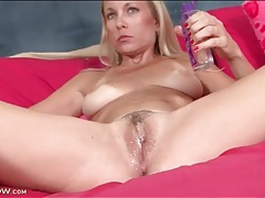 Blonde mom has great tits with tan lines tubes