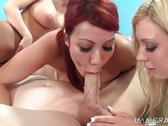 Three big tits babes suck dick and balls together tubes
