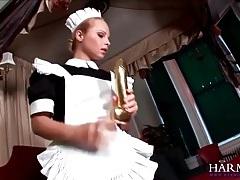 Masturbating maid blows the man of the house tubes