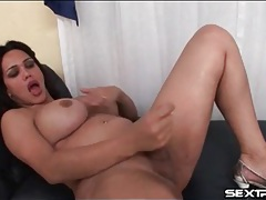 Shemale with curves strokes her small dick tubes