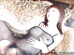 Babe in black fishnets spit roasted for hardcore sex tubes