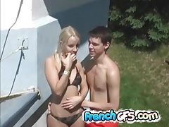 Quick outdoor fuck with bent over bikini teen tubes