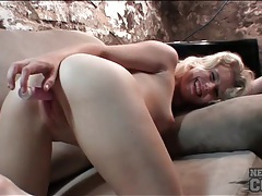 Leggy amateur blonde fucks a pink dildo tubes