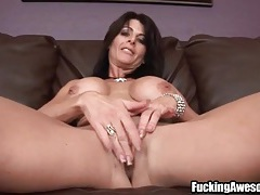 Double dildo machine penetration with a milf tubes