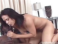 Wet black vagina sits on his hard bbc tubes