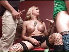 Big breasts transsexual sucks two dicks tubes