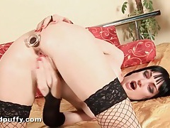 Goth hottie in lingerie fucks her favorite toys tubes