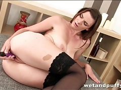 Anal toy sex stimulates brunette in stockings tubes