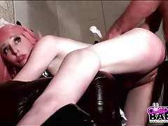 Slutty pink haired maid fucked from behind tubes