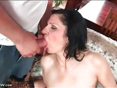 Hard cock sucked on by slutty mature tubes