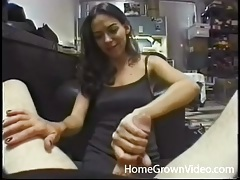 Cocksucking slut with tiny tits takes his load tubes