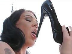 Huge fake tits solo girl licks her high heels tubes