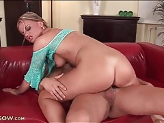 Eaten out blonde milf impales her cunt on a cock tubes