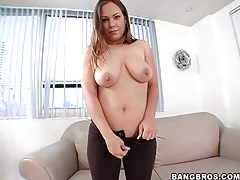 Curvy girl swings around her big natural tits tubes