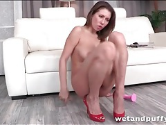 Anal dildo fucking girl pisses on the floor tubes