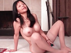 Asian mom with big fake tits fucks a toy tubes