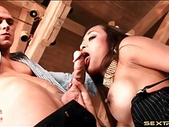 Big veiny cock in her wet asian mouth tubes