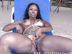 Shiny gold bikini on sexy cherokee dass tubes